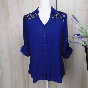 Express Blue Lace Portfolio Slim Fit Shirt